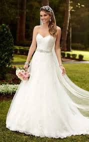 strapless wedding dresses strapless sweetheart lace princess a line wedding dress with sash