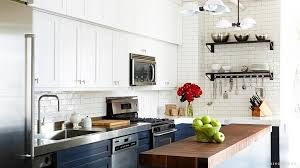 White And Navy Blue Kitchen With White Glass Tiles Transitional - Navy kitchen cabinets