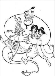 aladdin jasmine walk flying magic carpet coloring