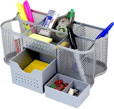 Office Desk Supply Decobros Desk Supplies Organizer Caddy Silver