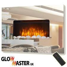 wall mounted fire fireplace mirrored glass compact electric living