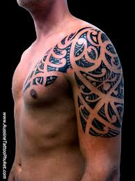 samoan tribal chest and left sleeve tattoos in 2017 real photo