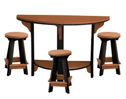 poly lumber half round table w 3 pub stools