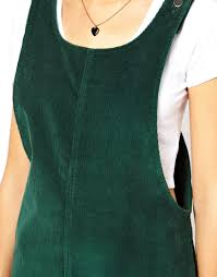 asos asos cord pinafore dress in green in green lyst