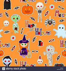 seamless pattern with cute cartoon monsters various objects and