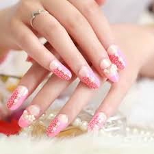 2015 newest cute fake nails fashion pearl u0026flower fake nail for