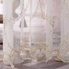 Embroidered Sheer Curtains Quality Gold Embroidered Pattern White Sheer Curtain