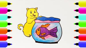 how to draw cats fish tank coloring pages for kids nursery
