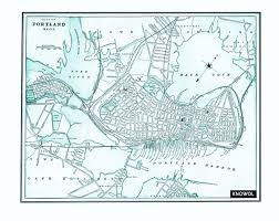Portland Maine Map by Vintage Map Of Portland Maine From 1898
