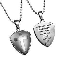 mens christian jewelry soldier of of god necklace stainless steel cross