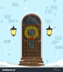 Front Doors Decorated For Christmas by Door Decoration Christmas Holidaysfront Door House Stock Vector