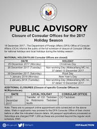 dfa announces schedule of offices abs cbn news