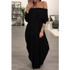 fashion dew shoulder falbala design black cotton blend ankle