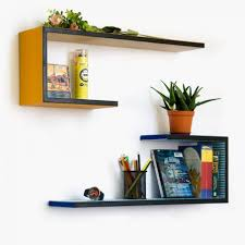 small floating shelves with yellow and blue color shelves and nice
