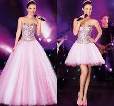 gorgeous pink long prom dresses with detachable skirt buy one get