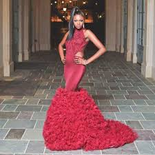 cheap african style burgundy prom dresses mermaid high neck