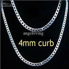 silver curb necklace images 2018 fashion men 39 s jewelry 925 silver 4mm curb chain necklace jpg