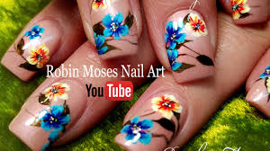 diy rainbow spring flower hand painted nails art design