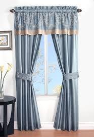 Blue Curtain Valance Cannon 5 Piece Curtain Panels Valance U0026 Tiebacks Prestige