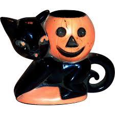 vintage 1950 u0027s rosbro plastics halloween black cat u0026 pumpkin candy
