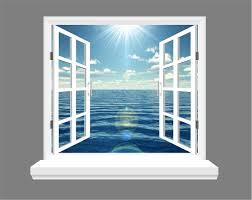 ocean and blue skies 3d window view wall art sticker