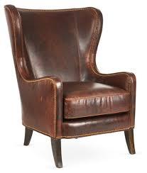 dempsey wingback chair bourbon leather massoud furniture