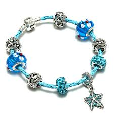 pandora charm bracelet clasp images Sky blue braided leather charm bracelet cute flowers pendant snap jpg