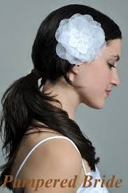 bridal hair clip 5 organza silk flower hair clip for wedding ivory