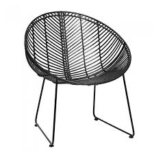 Lounge Armchair Lounge Armchair In Black Rattan With Steel Base Hübsch