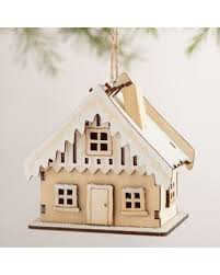deal on laser cut wood house ornaments with snow set