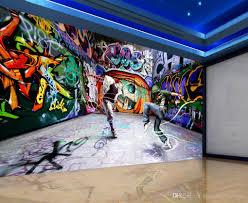 cheap graffiti mural wallpaper walls free shipping graffiti fabric non woven waterproof dancing young street dance graffiti background wall murals mural 3d wallpaper 3d