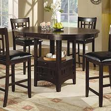 Round Pedestal Dining Table With Extension Leaf Dark Cappuccino Finish Round Dining Room Tables With Coaster
