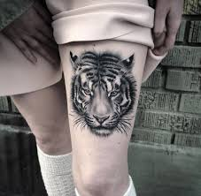 fluffy tiger portrait on s thigh best design ideas