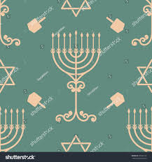 vector hanukkah seamless pattern menorah dreidel stock vector