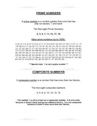 worksheet prime vs composite numbers definitions and examples