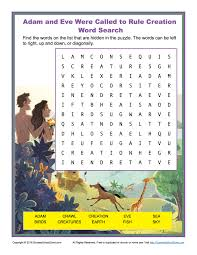 adam and eve were called to rule creation word search children u0027s