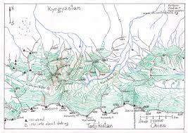 Kyrgyzstan Map Zaalay Trans Alay Range Orographic Maps Kyrgyz Alpine Club