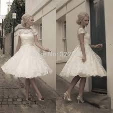 simple knee length wedding dresses 2015 lace white gown simple sleeve dress