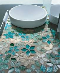 creative idea awesome blue floral pattern mosaic bathroom vanity