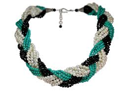 braided necklace images Turquoise black crystal freshwater pearl braided necklace pearls jpg