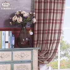Plaid Curtain Material Plaid Curtain Fabric For Bedroom Imitation Thicker