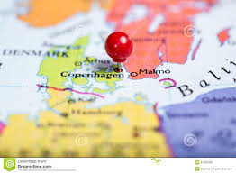 Copenhagen Map Red Push Pin On Map Of Denmark Stock Photo Image 47255325