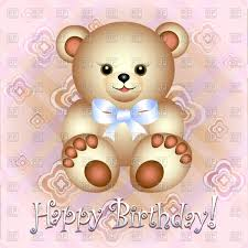 birthday greeting card with teddy bear on pink festive background