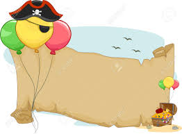 illustration of a pirate party scroll with balloons stock photo