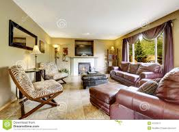 Printed Chairs Living Room by Luxury Living Room With Leather Furniture Set Stock Photo Image