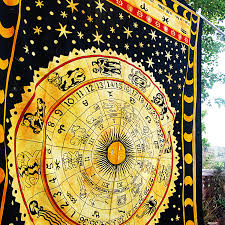 zodiac signs gypsy tapestry astrology symbols bedspread twin sun