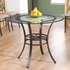 Round Glass Top Dining Table Wood Base Foter - Glass top tables for kitchen
