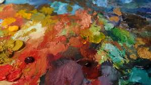 changing light over paint palette close up stock footage video