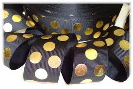 black and gold ribbon polka dots polka dot ribbon metallic dot ribbon foil dot ribbon