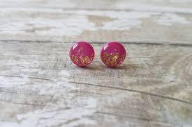 magenta ohrringe rosa und gold ohrringe fuchsia ohrringe